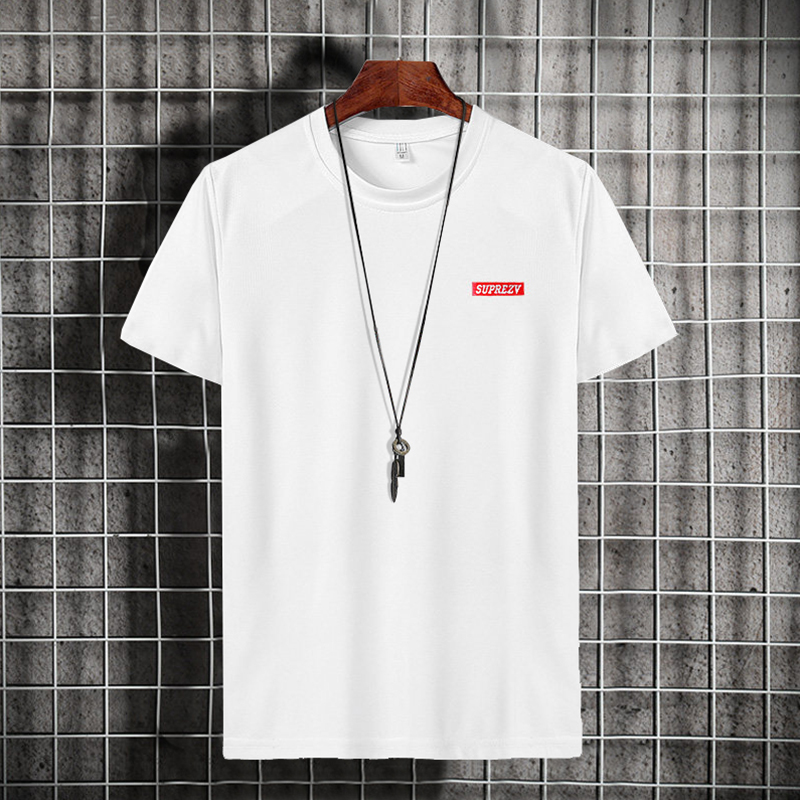 短袖t恤男士2021新款印花打底衫青少年夏季立领体恤学生休闲男装