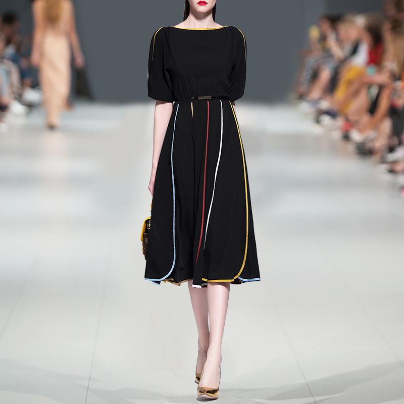 秋装女2018新款女装短袖雪纺连衣裙女夏季修身收腰一字领打底裙子