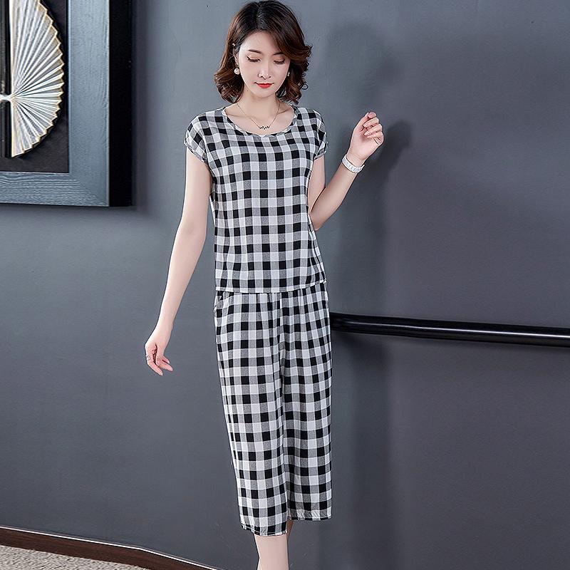 棉绸睡衣女棉绸套装夏季时尚外穿碎花短袖七分裤人造棉家居服套装