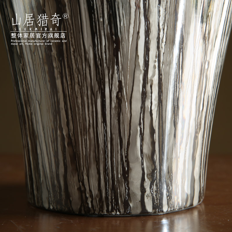 New Chinese style household act the role ofing is tasted grey wood grain ceramic vase furnishing articles large pot flowers, flower arranging furnishing articles sitting room