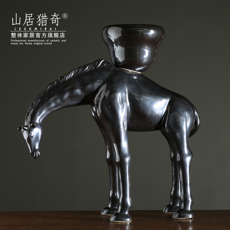 American decorative flower arranging flower implement ceramic animal flowerpot creative ceramic household act the role ofing is tasted deer deer furnishing articles top basin