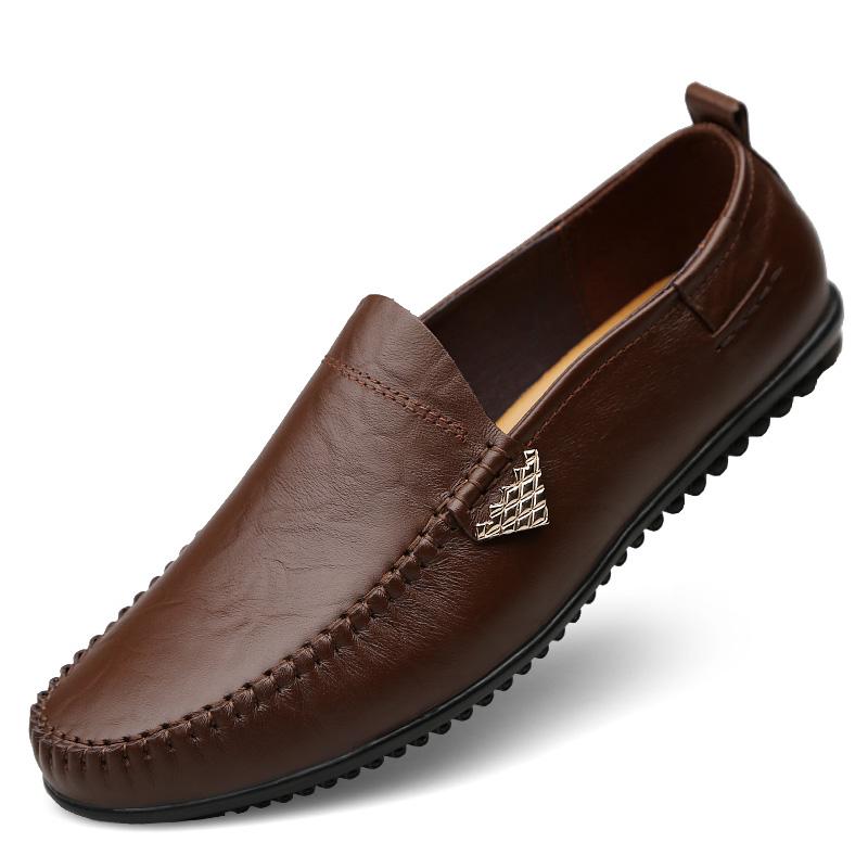 秋季男士休闲皮鞋男真皮软底软面皮商务男鞋冬季百搭牛皮豆豆鞋子