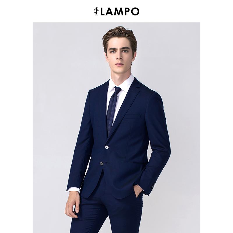 lampo-蓝豹2018新品全季全羊毛中蓝色超修身男士套装西服上衣