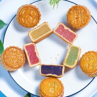 威爾麗廣式豆沙月餅散裝500g老式中秋水果味月餅傳統手工多口味