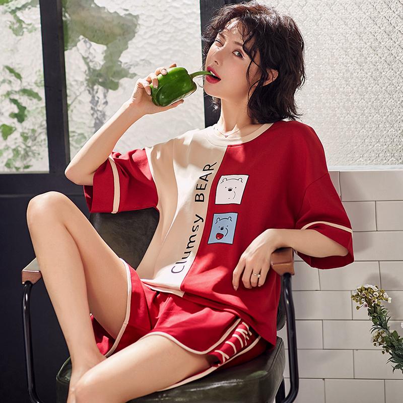 【抖音爆款】睡衣女短袖纯棉家居服2件套