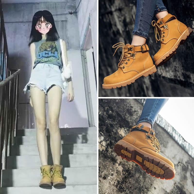 欧美真皮马丁靴女靴子潮流户外登山靴工装短靴军靴情侣机车大黄靴