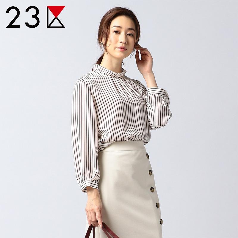 23区 ONWARD 上衣女2018夏秋新款简约气质花边袖长袖衬衫