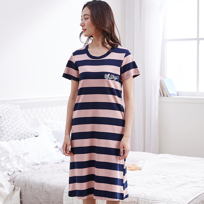 夏天睡裙女短袖纯棉全棉条纹