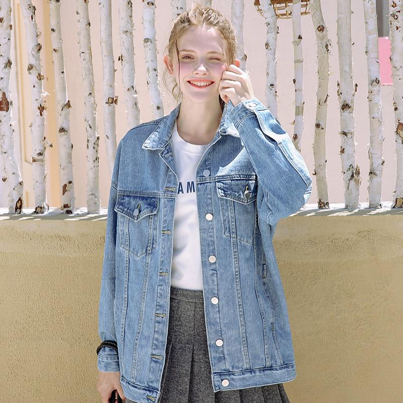 ulzzang牛仔外套女2018春秋季新款韩版宽松显瘦中长款大码牛仔衣