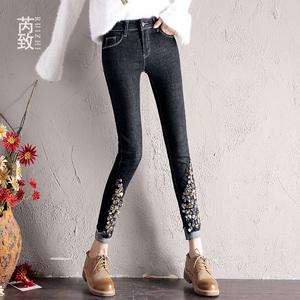 加绒牛仔裤女秋冬新款韩版黑色弹力显瘦高腰小脚裤紧身网红铅笔裤