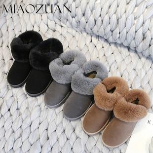 2019新款冬季韩版百搭短靴棉鞋女加绒保暖雪地靴女短筒厚底短靴潮