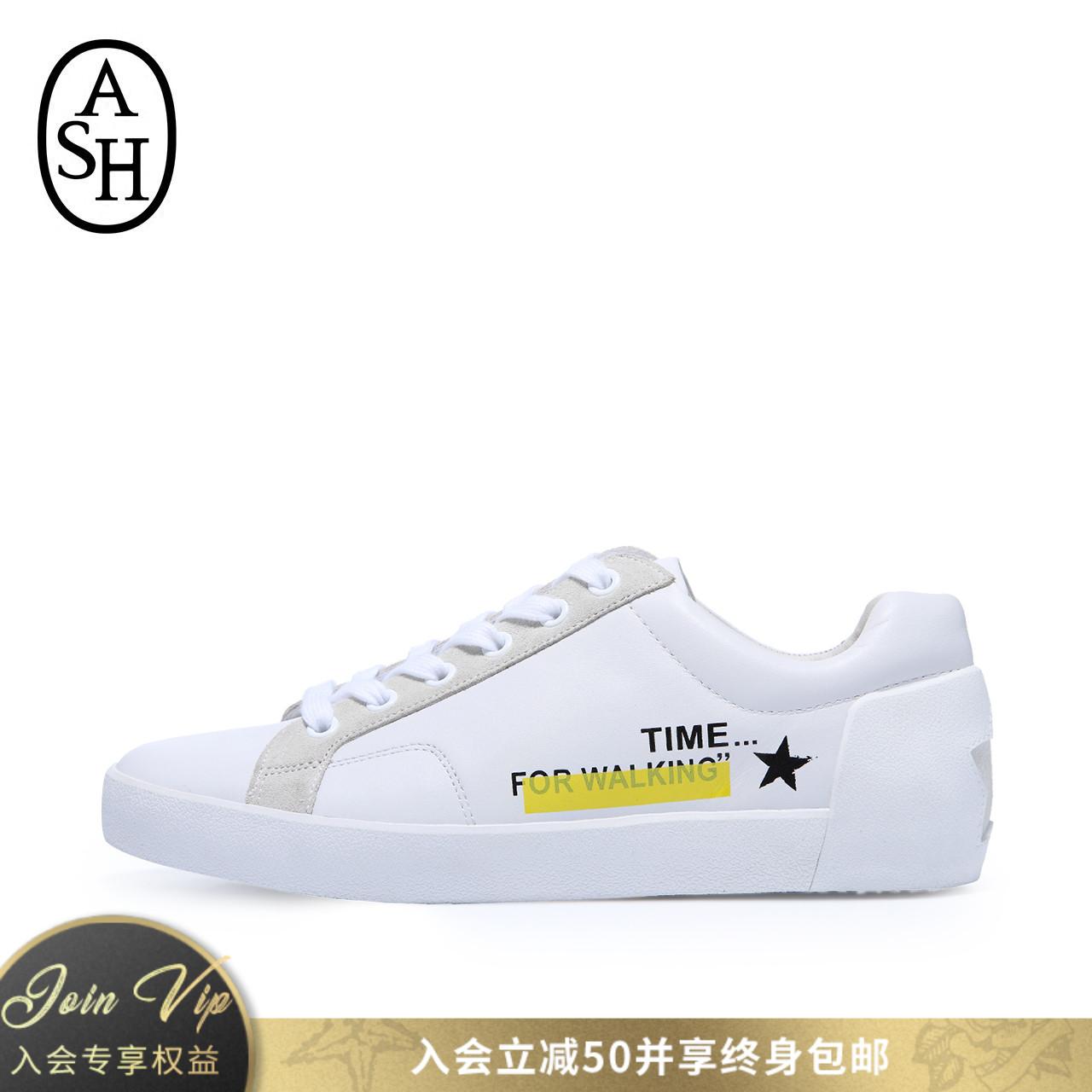 ASH女鞋2018秋季新品NEXT系列个性宣言涂鸦休闲低帮单鞋小白鞋