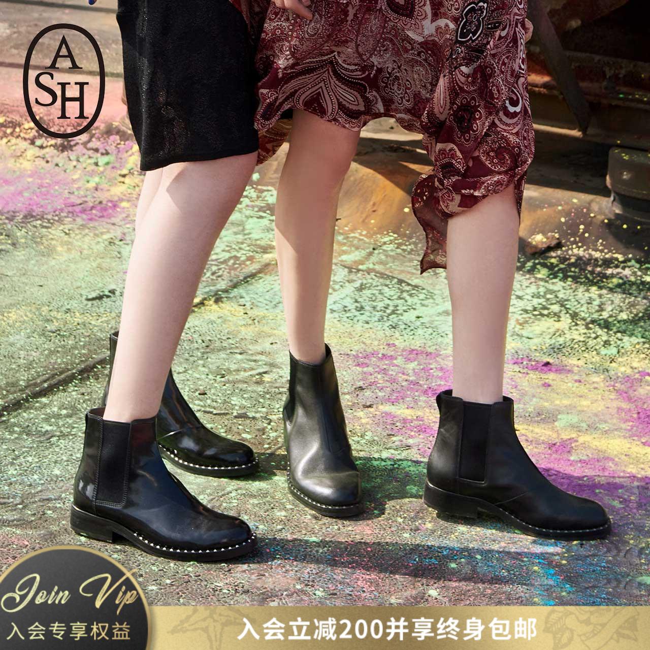 ASH女鞋马丁靴女2018秋冬新款WINO系列短靴铆钉短筒踝靴切尔西靴