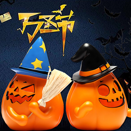 Halloween Decoration Pumpkin Lantern Ghost Festival Dress Up Glowing Simulation Bucket Shopping Mall KTV Bar Props