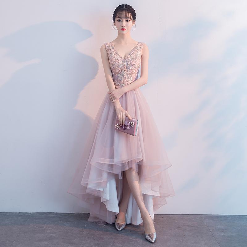 2018新款时尚端庄大气前短后长显瘦主持人晚宴宴会粉色晚礼服裙女
