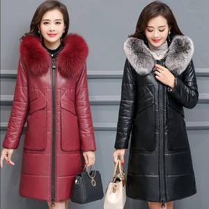冬季新款中老年女装皮衣厚外套中年妈妈装中长款加厚加大码棉服女
