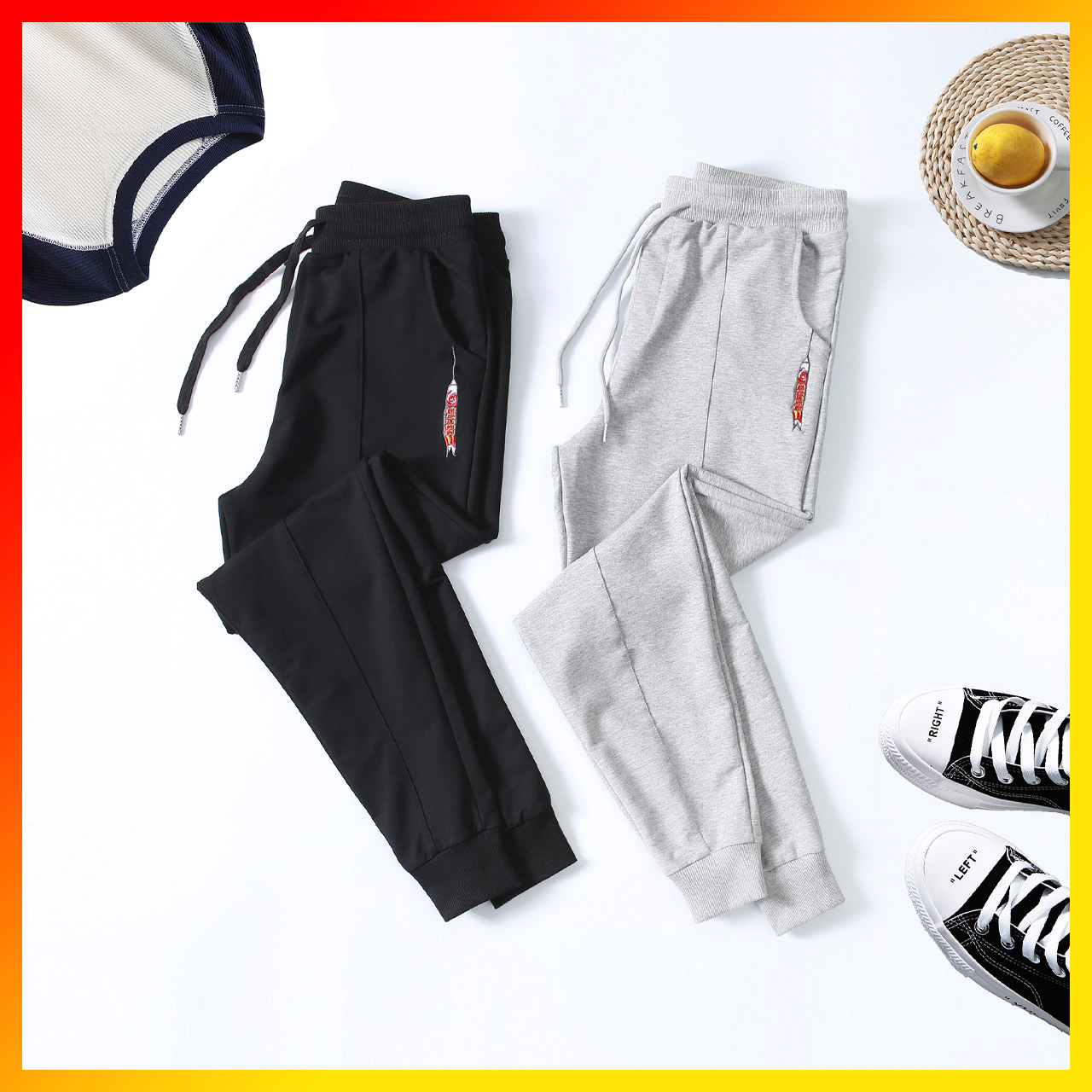 Sports pants men loose casual pants men's pants male tide brand pants male Korean version trend bundle foot pants Halenchun