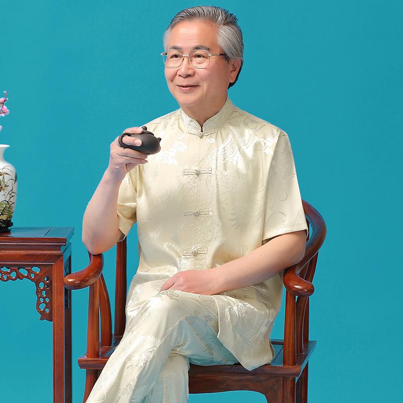 真丝唐装男士短袖夏季中老年中式
