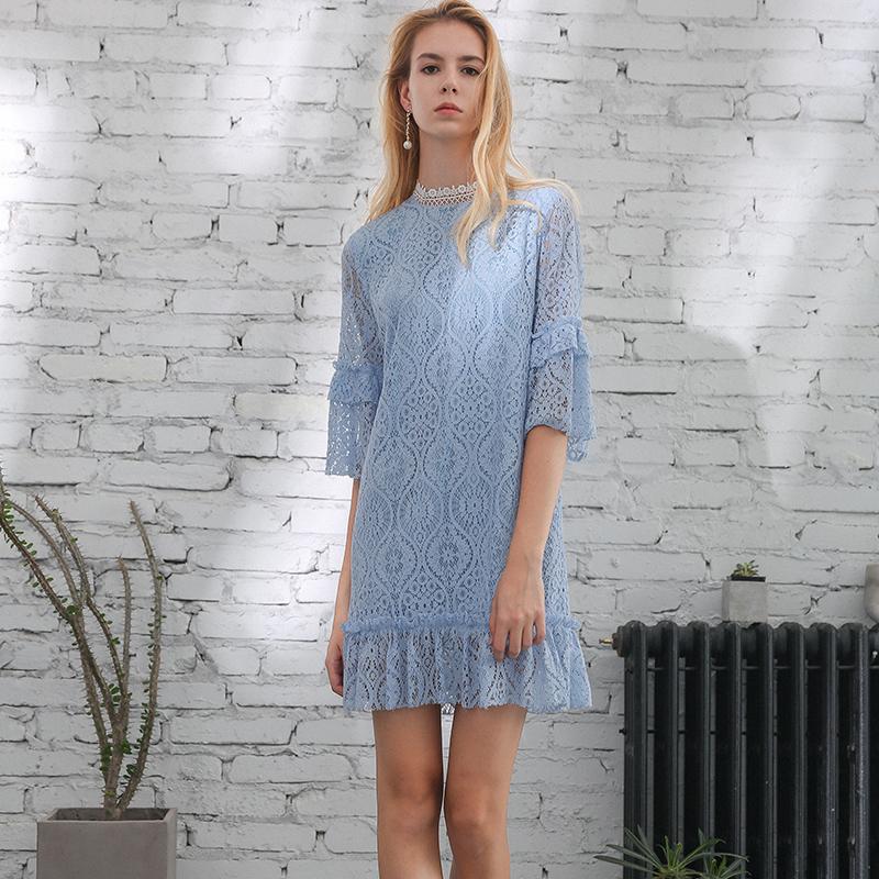 蕾丝连衣裙秋天穿的超仙秋季显瘦气质2018chic冷淡风女小个子小众