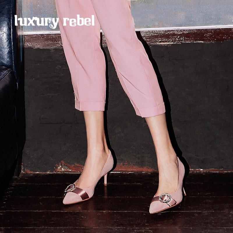 LR女鞋Luxury Rebel 2018秋季新款时尚圆环锆石单鞋高跟套脚女鞋
