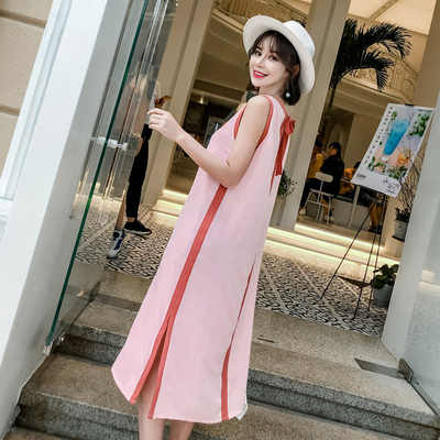 Pregnant women's Summer clothes 2018 new sleeveless vest pregnant woman dress in a long summer loose...