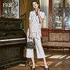 约裳职业西装套装女时尚白色条纹短袖西服气质正装阔腿裤两件套夏