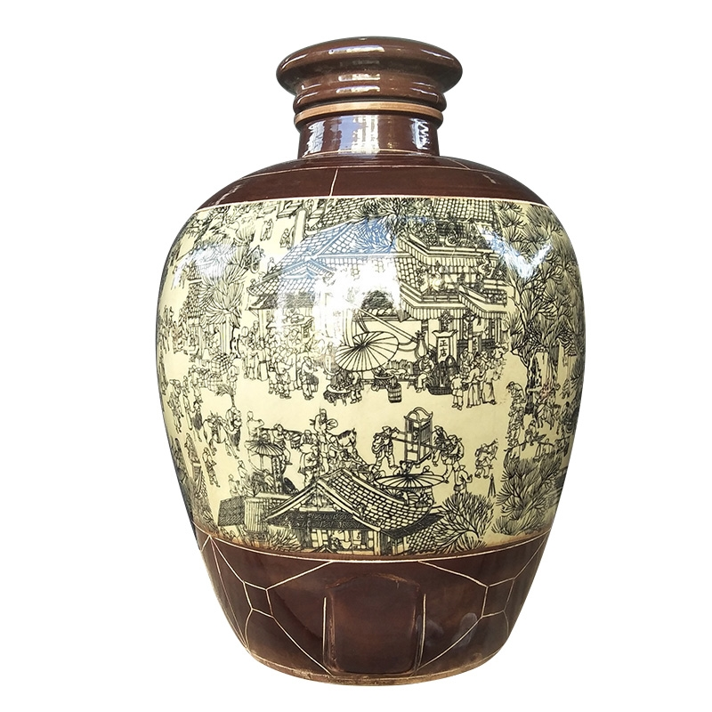Qiao mu ceramic antique wine jar sealing it home 10 jins 20 jins 50 kg wine mercifully medicine wine on the tomb - sweeping day