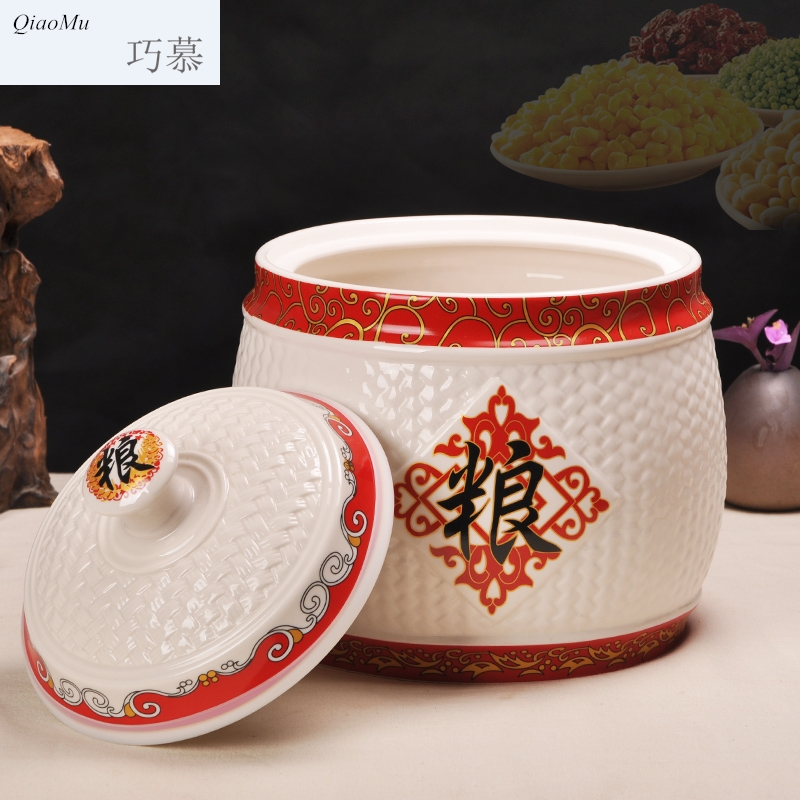 Qiao mu jingdezhen ceramic barrel ricer box seal pot 15 pounds 25 kilo meters five box of storage tank is moistureproof insect - resistant jar