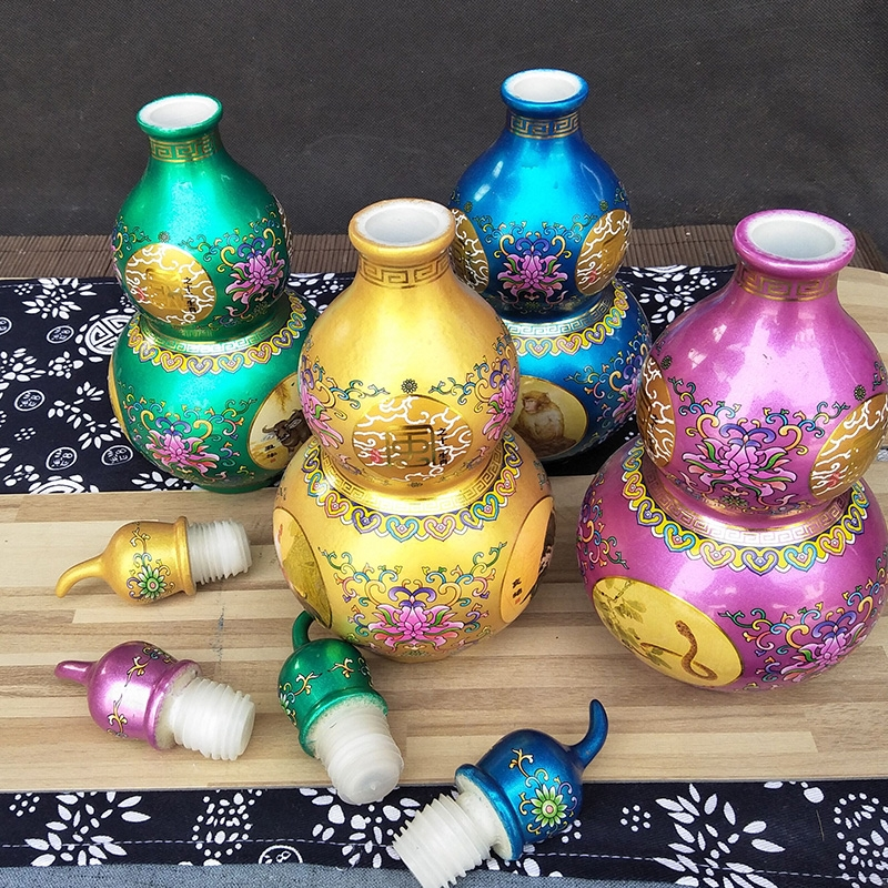 Qiao mu jingdezhen ceramic empty wine bottle gourd bottle 1 catty seal furnishing articles jar zodiac fu lu shou flower