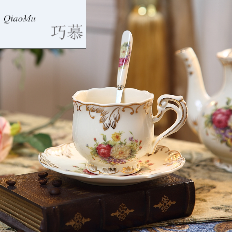 Qiao mu coffee cup set of European ceramic cup of red tea cup English court contracted wind afternoon tea cups