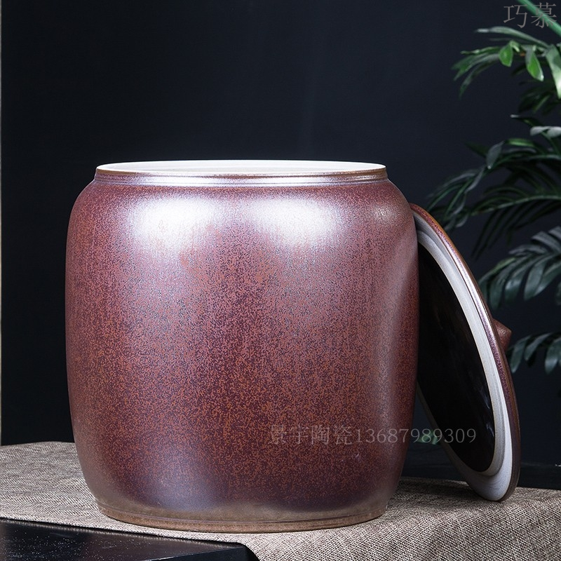 Qiao mu jingdezhen ceramic cylinder barrel with tap water cylinder 20 jins 30 jins 50 kg household with cover storage
