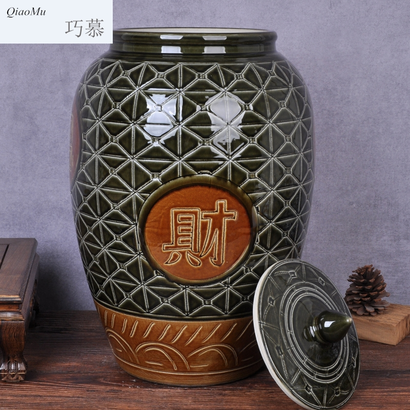 Qiao mu ceramic barrel moistureproof insect - resistant ricer box sealed with cover tank cylinder cylinder pickled kimchi flour barrels of oil reservoir