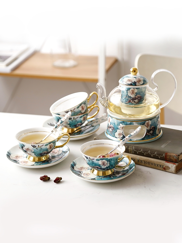 Qiao MuDuJuan bird heating ceramic glass teapot set insulation belt filter European afternoon tea tea tea