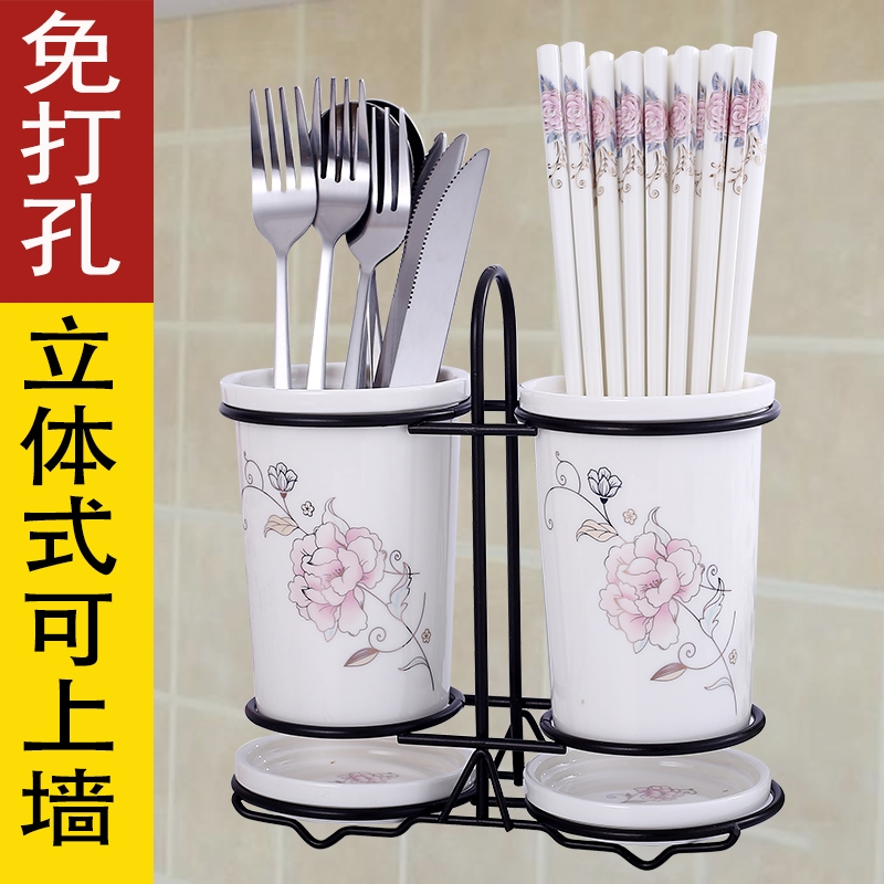 Qiao mu CMK ceramic tube spoon, chopsticks box son home drop chopsticks to receive a box on the shelf can drop