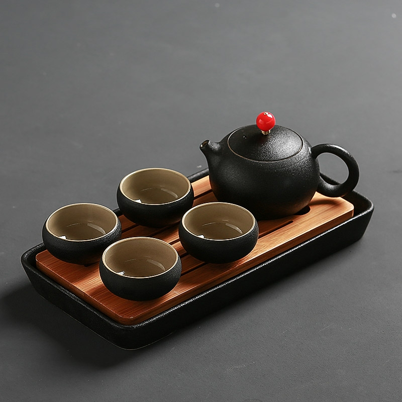 Black pottery ceramic qiao mu zen tea cup personal cup small single CPU meditation cup Japanese kung fu tea bowls teapot