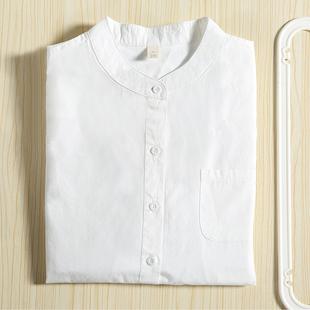 玫素立领白色衬衫女长袖小清新无领衬衣学生纯棉韩范上衣显瘦修身