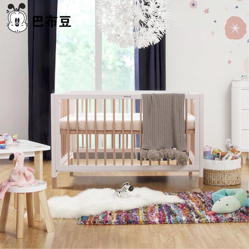 巴布豆 北欧实木婴儿床拼接大床新生儿BB床多功能宝宝床幼儿床