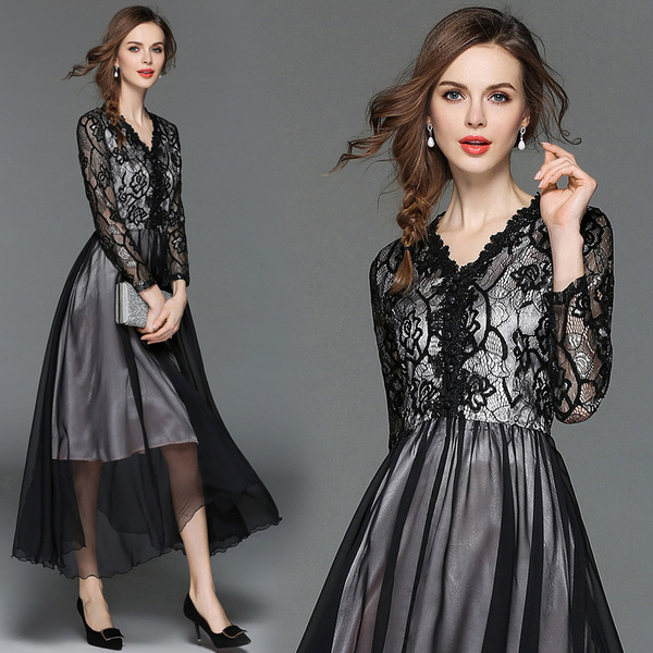 Real Shot 2018 Autumn New V-Neck Lace Dress Waist Long Skirt Ladies Black Dress