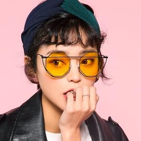 MIGO圆脸网红女式太阳镜2018新款潮复古原宿风街拍凹造型黄色墨镜