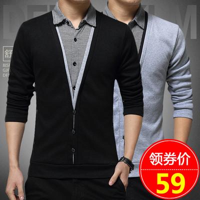 CreamSoda 男士长袖t恤秋装假两件衬衫领上衣薄款打底衫衣服男装秋衣卫衣男