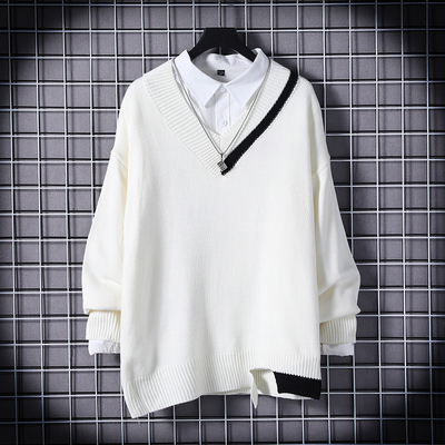 Japanese Autumn and Winter Korean Trend V-neck Long Sleeve Sweater Tick Tide Brand Losse Wool Bottom Sweater 405061