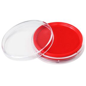 得力9863印台红色蓝色快干印泥圆形印章油油性橡皮章海绵印油办公