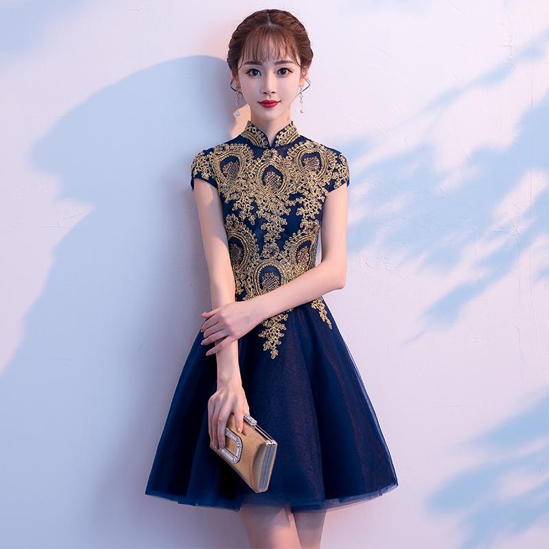 宴会晚礼服2018新款高贵优雅短款显瘦名媛聚会洋装小礼服连衣裙女