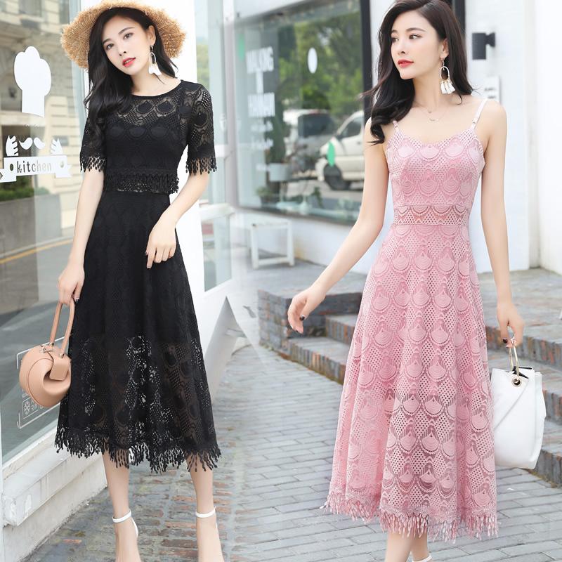 性感仙气蕾丝两件套连衣裙女夏2018新款韩版气质显瘦长款a字套裙