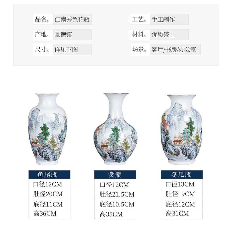 Jingdezhen ceramics hand - made the master of landscape painting thin body porcelain vase furnishing articles Chinese flower arranging sitting room household act the role ofing is tasted