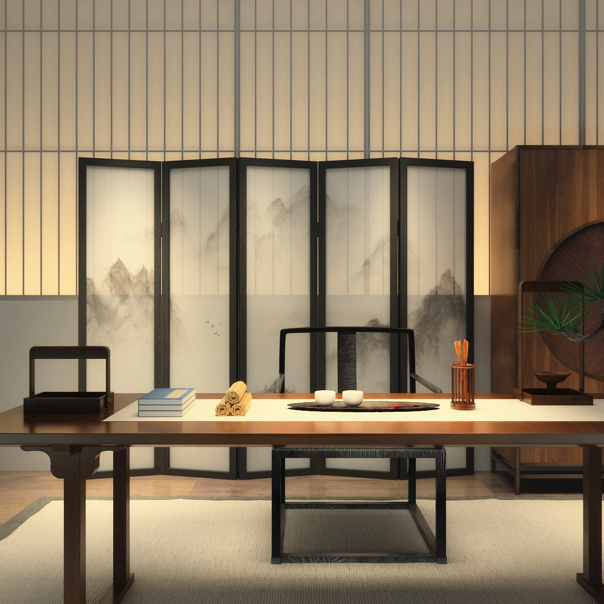 中式屏风隔断简约现代时尚客厅酒店卧室实木玄关半透抽象山水折屏