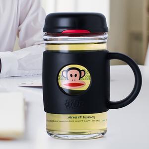大嘴猴玻璃杯家用水杯带盖办公室商务花茶杯泡茶随手杯带把手杯子