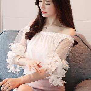 8183#实拍时尚雪纺衫女2018夏装新款韩版气质T恤女超仙...