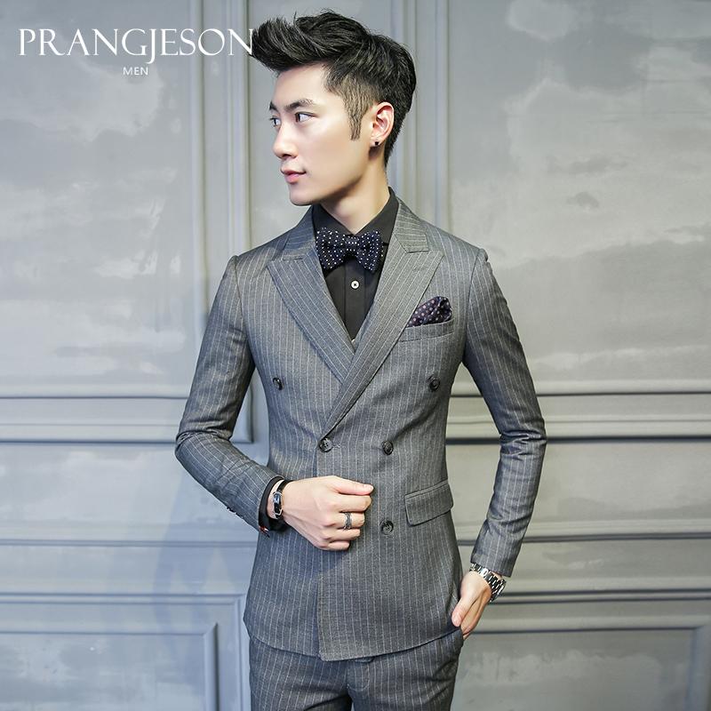 西服套装男三件套韩版修身条纹双排扣西装职业正装新郎伴郎团礼服