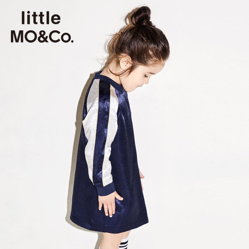 littlemoco秋季新品女童连衣裙撞色条纹字母刺绣运动休闲风裙子